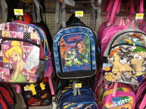 Tink, Toy Story, Phineas & Ferb backpacks