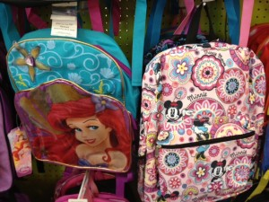 Ariel and Minnie backpacks