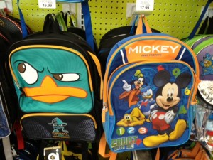 Perry and Mickey backpacks