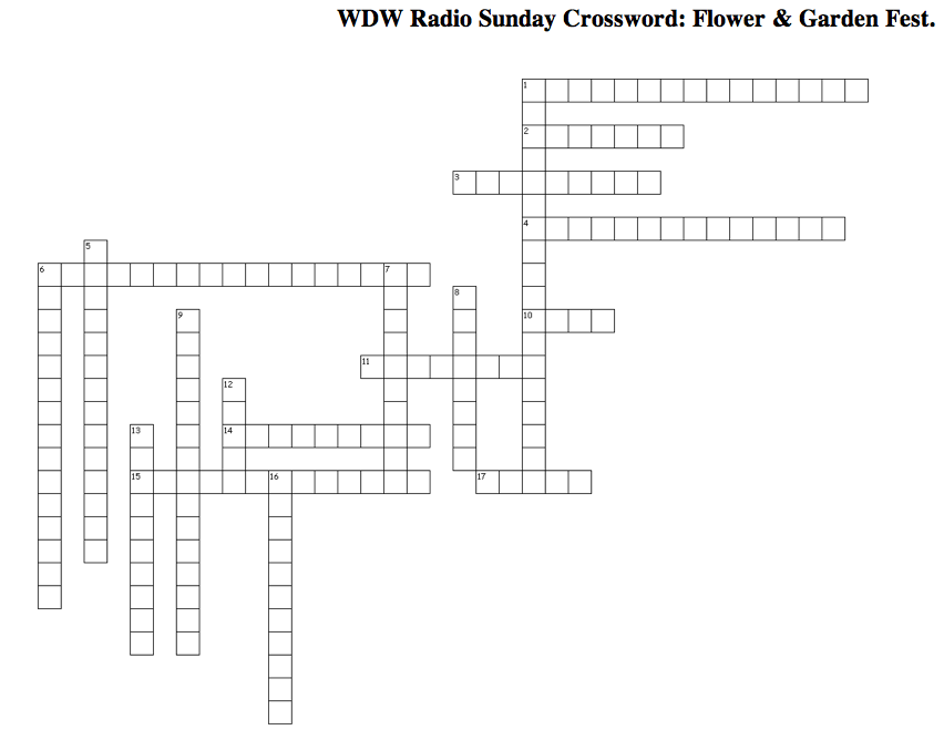 Wdw Radio Sunday Crossword Puzzle Epcot International Flower And Garden Festival Edition Wdw
