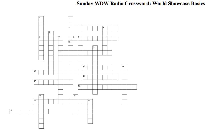 Sunday wdw radio crossword puzzle world showcase basics wdw radio your walt disney world for Garden pavilion crossword clue